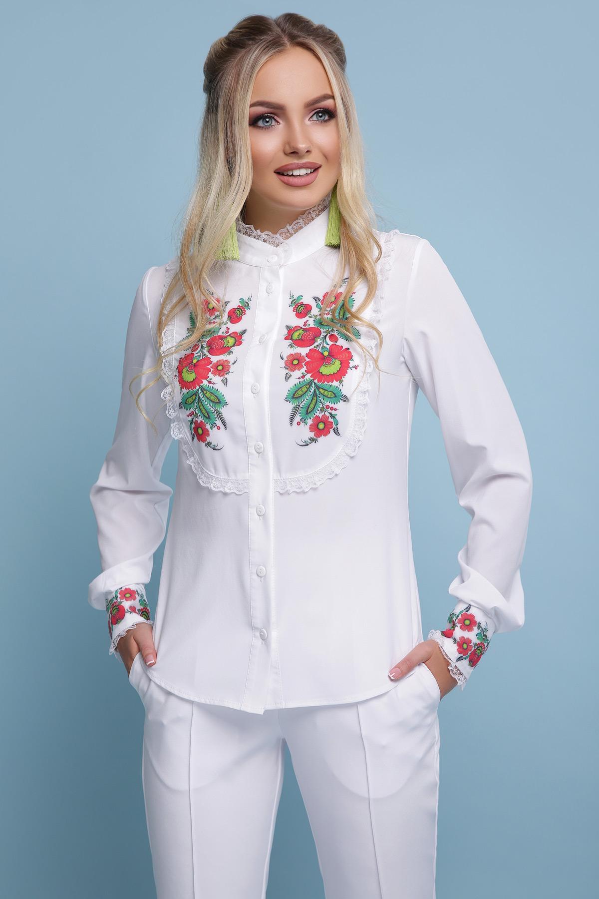 012011fcc09c48 Біла блуза з малюнком Дарина | DeDe